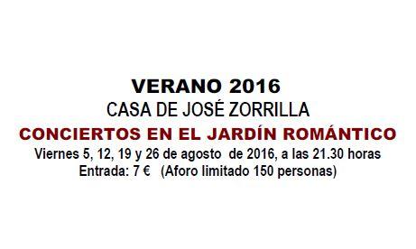 conciertos Casa de Zorrilla, verano 2016